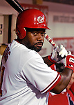 18 May 2007: Washington Nationals first baseman Dmitri Young awaits his turn at bat against the Baltimore Orioles at RFK Stadium in Washington, DC. The Orioles defeated the Nationals 5-4 in the first game of the 3-game interleague series...Mandatory Photo Credit: Ed Wolfstein Photo