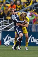 8 MAY 2010:  New England Revolutions' Pat Phelan (28) and Steven Lenhart of the Columbus Crew (32) during MLS soccer game between New England Revolution vs Columbus Crew at Crew Stadium in Columbus, Ohio on May 8, 2010. The Columbus defeated New England 3-2.
