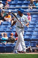 Hartford Yard Goats pinch hitter Correlle Prime (22) at bat during a game against the Binghamton Rumble Ponies on July 9, 2017 at NYSEG Stadium in Binghamton, New York.  Hartford defeated Binghamton 7-3.  (Mike Janes/Four Seam Images)
