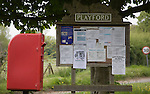 Small rural settlement services comprising of community noticeboard and post box, Playford, Suffolk, England