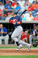 Boston Red Sox outfielder Bryce Brentz #73 during a Spring Training game against the Philadelphia Phillies at Bright House Field on March 24, 2013 in Clearwater, Florida.  Boston defeated Philadelphia 7-6.  (Mike Janes/Four Seam Images)