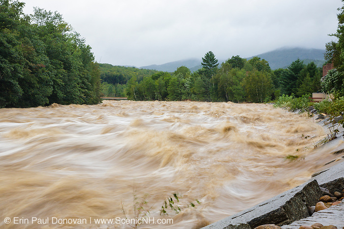 On August 27, 2011, the White Mountain National Forest was officially closed at 6:00PM because of Tropical Storm Irene. This image shows how the East Branch of the Pemigewasset River in Lincoln, New Hampshire looked on August 28, 2011. Loon's South Mountain bridge can be seen downstream. This tropical storm caused destruction along the East Coast of the United States and the White Mountain National Forest of New Hampshire was officially closed during the storm.