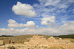 Israel, Shephelah, ruins of the ancient Synagogue in Hurvat Rimon