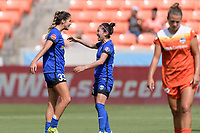 Houston, TX - Saturday May 27, 2017: Nahomi Kawasumi congratulates Katie Johnson on her goal during a regular season National Women's Soccer League (NWSL) match between the Houston Dash and the Seattle Reign FC at BBVA Compass Stadium.