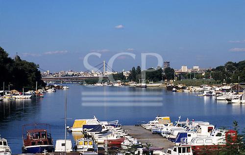 Belgrade, Serbia, Yugoslavia. View of the marina on the Sava River with leisure boats.