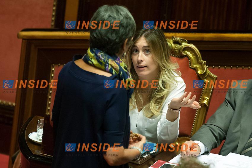 Anna Finocchiaro e Maria Elena Boschi<br /> Roma 06-08-2014  Senato. Discussione sul DdL Riforme costituzionali che prevede anche la riforma del Senato. <br /> Photo Samantha Zucchi Insidefoto