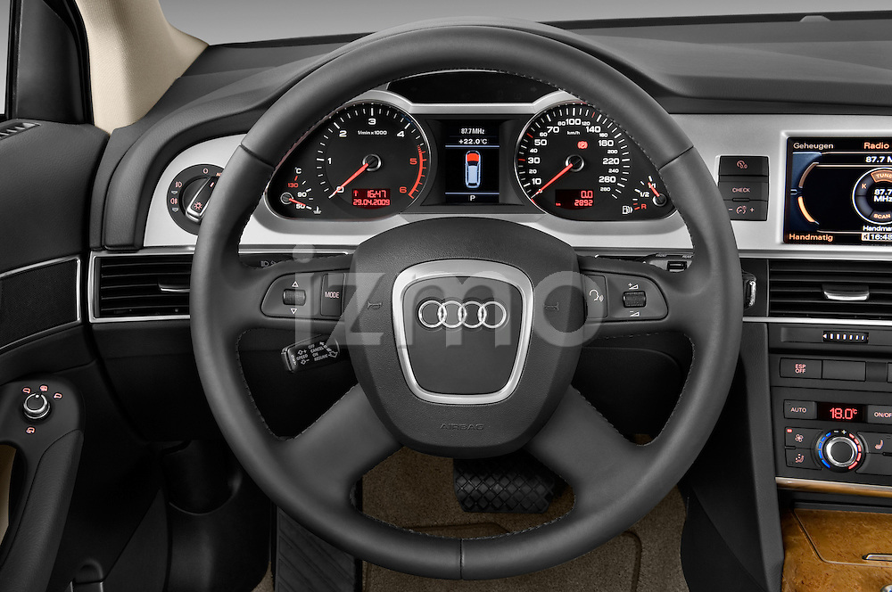 Steering wheel view of a 2006 - 2011 Audi A6 ALLROAD QUATTRO Avus 5-Door Wagon 4WD