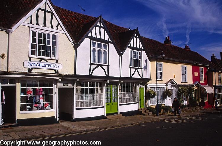 A083JD Old traditional shops Woodbridge market hill Suffolk England