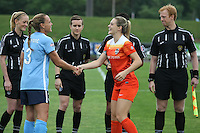 Piscataway, NJ - Saturday July 09, 2016: Christie Rampone, Kaelia Ohai during a regular season National Women's Soccer League (NWSL) match between Sky Blue FC and the Houston Dash at Yurcak Field.