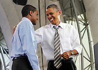 University of Virginia student Mathias Wondwosen introduced President Barack Obama during a campaign stop at the nTelos Wireless Pavilion in Charlottesville, VA.
