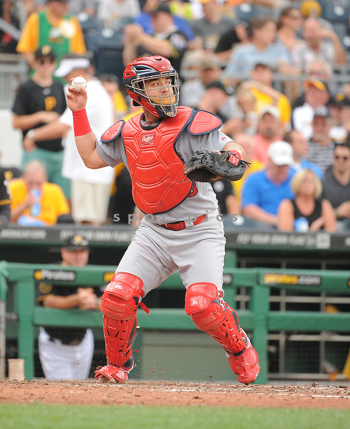 St. Louis Cardinals Tony Cruz (48) during a game against the Pittsburgh Pirates on August 27, 2014 at PNC Park in Pittsburgh PA. The Pirates beat the Cardinals 3-1.
