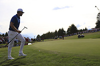 Lucas Bjerregaard (DEN) on the playoff green 18 during Sunday's Final Round 4 of the 2018 Omega European Masters, held at the Golf Club Crans-Sur-Sierre, Crans Montana, Switzerland. 9th September 2018.<br /> Picture: Eoin Clarke | Golffile<br /> <br /> <br /> All photos usage must carry mandatory copyright credit (&copy; Golffile | Eoin Clarke)