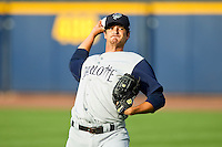 Charlotte Knights starting pitcher Andre Rienzo (25) warms up in the outfield prior to the game against the Toledo Mudhens at 5/3 Field on May 3, 2013 in Toledo, Ohio.  The Knights defeated the Mudhens 10-2.  (Brian Westerholt/Four Seam Images)