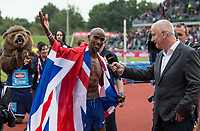 Mo FARAH of GBR is interviewed by the BBC after his final track race in the UK during the Muller Grand Prix Birmingham Athletics at Alexandra Stadium, Birmingham, England on 20 August 2017. Photo by Andy Rowland.