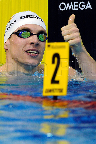 23.05.2012. Debrecen, Hungary.  Germany's Paul Biedermann celebrates after winning the men's 200 Meters Freestyle final at the European Swimming Championship in Debrecen, Hungary, Wednesday, 23 May 2012.