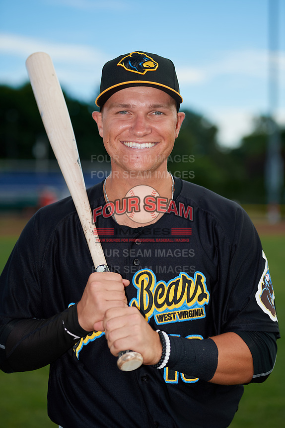 West Virginia Black Bears Nick Valaika (10) poses for a photo before a game against the Batavia Muckdogs on June 19, 2018 at Dwyer Stadium in Batavia, New York.  West Virginia defeated Batavia 7-6.  (Mike Janes/Four Seam Images)