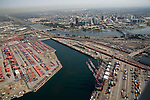 Aerial view of the Port of Long Beach with Downtown Long Beach, CA in the background