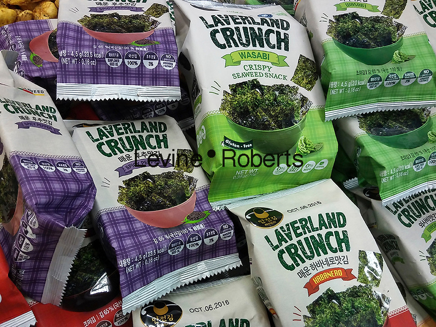 Laverland Crunch seaweed snacks in a grocery store in New York on Monday, March 28, 2016. (© Richard B. Levine)