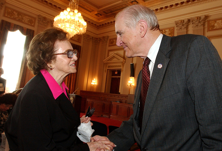 "johnson1/051303 - Rep. Sam Johnson, R-Texas, greets Ruth Mizell former wife of the late Wilmer ""Vinegar Bend"" Mizell, N.C., before a forum held by the Center for Christian Statesmanship in which Johnson shared how Chirst helped him survive his days in a Hanoi POW camp."
