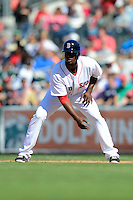 Boston Red Sox infielder Pedro Ciriaco #23 leads off first during a Spring Training game against the Miami Marlins at JetBlue Park on March 27, 2013 in Fort Myers, Florida.  Miami defeated Boston 5-1.  (Mike Janes/Four Seam Images)