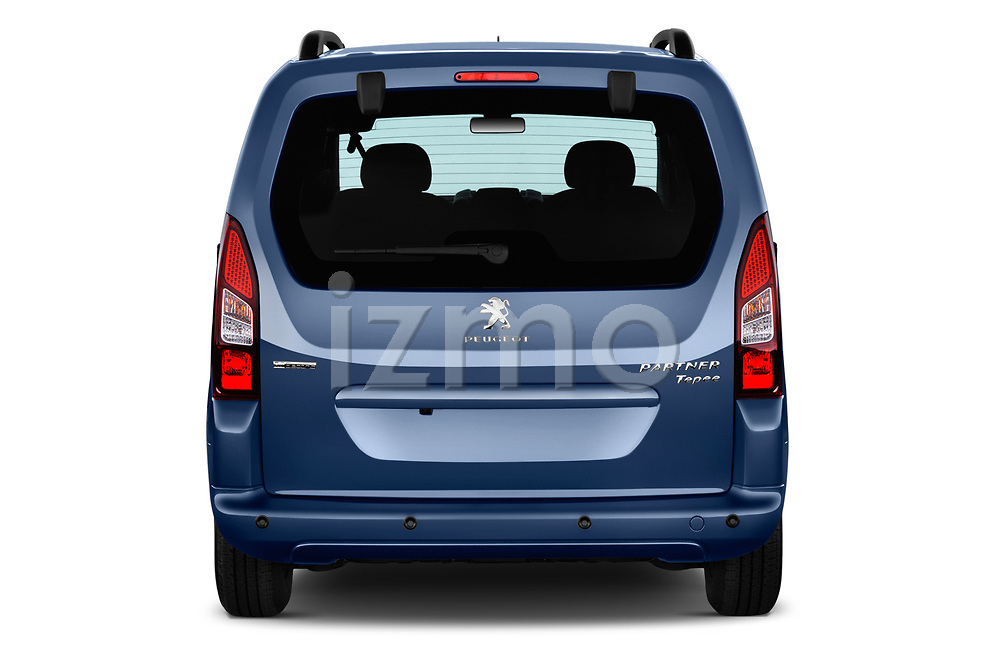 Straight rear view of a 2018 Peugeot Partner Tepee Electric Allure 5 Door Mini Van stock images