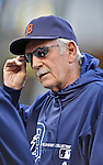 28 September 2012: Detroit Tigers Manager Jim Leyland works at batting practice prior to a game against the Minnesota Twins at Target Field in Minneapolis, MN. The Twins defeated the Tigers 4-2 in the first game of their 3-game series. Mandatory Credit: Ed Wolfstein Photo