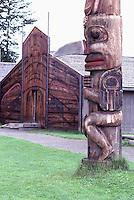 Ksan Historical Village and Museum in Hazelton, Northern BC, British Columbia, Canada - Replicated Gitxsan (Gitksan aka Tsimshian) First Nations Native Indian Village, Totem Pole and Tribal Plank House