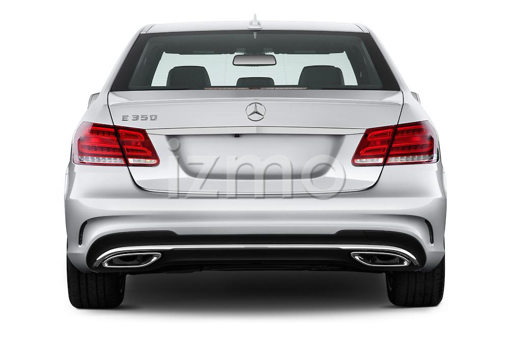 Straight rear view of a 2014 Mercedes E350 Sedan