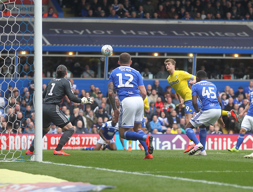 Leeds United's Patrick Bamford sees his header saved by Birmingham City's Lee Camp<br /> <br /> Photographer Mick Walker/CameraSport<br /> <br /> The EFL Sky Bet Championship - Birmingham City v Leeds United - Saturday 6th April 2019 - St Andrew's - Birmingham<br /> <br /> World Copyright © 2019 CameraSport. All rights reserved. 43 Linden Ave. Countesthorpe. Leicester. England. LE8 5PG - Tel: +44 (0) 116 277 4147 - admin@camerasport.com - www.camerasport.com