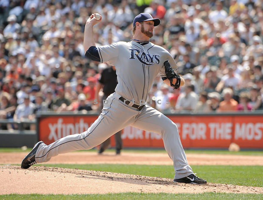 JEFF NIEMANN, of the Tampa Bay Rays , in actions during the Rays game against the Chicago White Sox at US Cellular Field on April 10, 2011.  The Chicago White Sox won the game beating the Tampa Bay Rays 6-1.