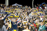 CARSON, CA – NOVEMBER 7:  LA Galaxy fans celebrating a goal during a soccer match at the Home Depot Center, November 7, 2010 in Carson, California. Final score LA Galaxy 2, Seattle Sounders 1.