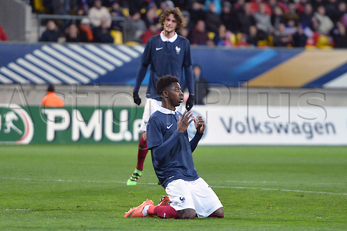 28.03.2016. Stade LeMans,  Le Mans, France, U-21 2017 Euros qualification. France versus Macedonia.  OUSMANE DEMBELE  (fra) with a close miss for France