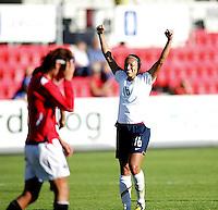 Angela Huckles (16) celebrates the third goal behind defeated Ingvil Stensland. USA 4,  Norway 0, Fredrikstad Stadium, July 2, 2008.