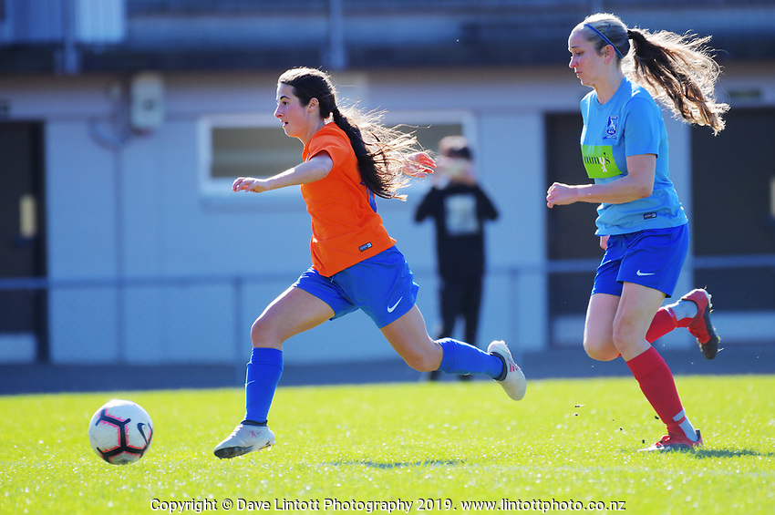 Action from the Women's Central League football match between Wellington United and Seatoun AFC at Newtown Park in Wellington, New Zealand on Saturday, 3 August 2019. Photo: Dave Lintott / lintottphoto.co.nz