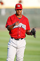 August 3, 2009:  Left Fielder Michael Taylor of the Lehigh Valley IronPigs before a game at Frontier Field in Rochester, NY.  Lehigh Valley is the International League Triple-A affiliate of the Philadelphia Phillies.  Photo By Mike Janes/Four Seam Images