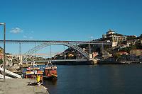 Dom Luis I bridge Dom Luis I bridge seen from Cais da Ribeira porto portugal