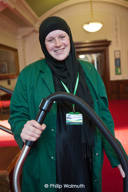 Cleaner on an early morning shift at Islington Town Hall. The 130 cleaners of the borough's 70 municipal buildings are now directly employed by the local authority, following the ending of a 10 year contract with private company Kier Building Maintenance.