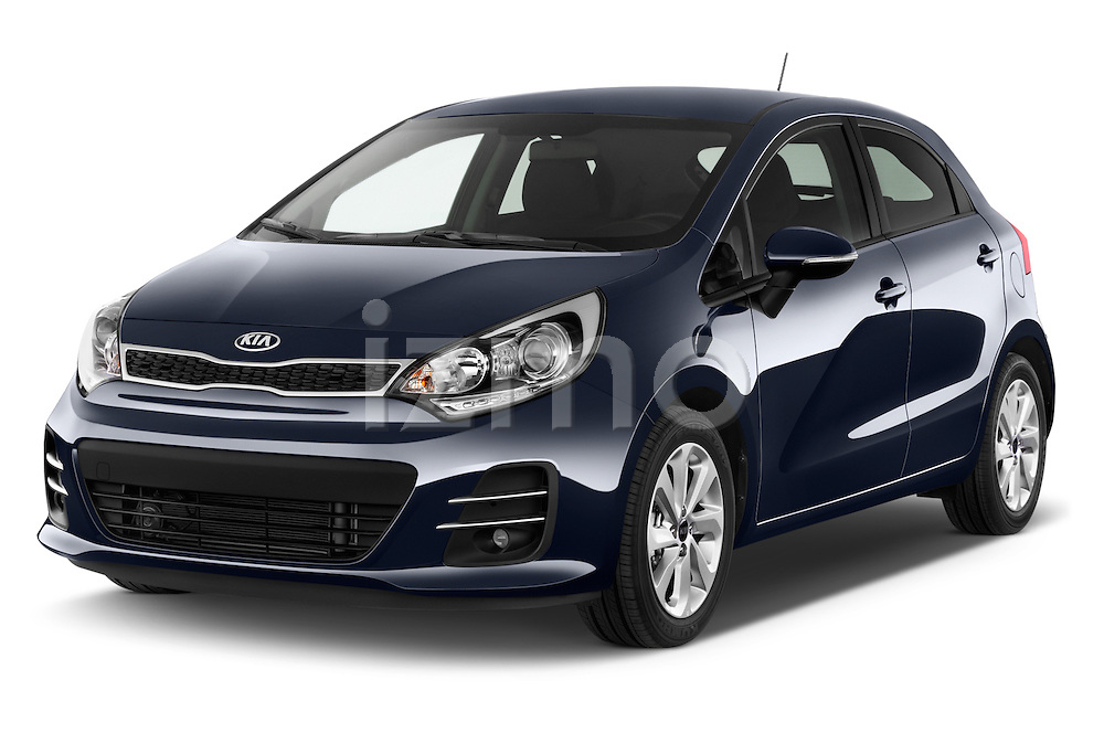2015 KIA Rio World Edition 5 Door Hatchback Angular Front stock photos of front three quarter view