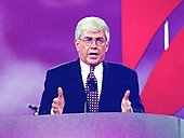 Former United States Secretary of Housing and Urban Development Jack Kemp delivers his speech accepting the 1996 Republican Party nomination for Vice President of the United States at the 1996 Republican National Convention at the San Diego Convention Center in San Diego, California on August 15, 1996.  <br /> Credit: Ron Sachs / CNP