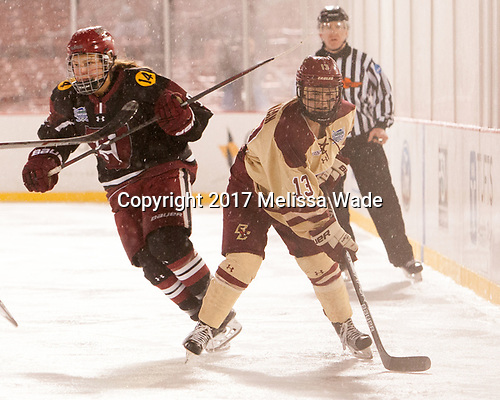 Abbey Frazer (Harvard - 28), Haley McLean (BC - 13) - The Boston College Eagles defeated the Harvard University Crimson 3-1 on Tuesday, January 10, 2017, at Fenway Park in Boston, Massachusetts.The Boston College Eagles defeated the Harvard University Crimson 3-1 on Tuesday, January 10, 2017, at Fenway Park.