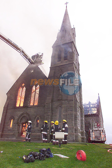 The Church of Our Lady of Imaculate Conception in Louth village gutted by fire. Picture Fran Caffrey/Newsfile