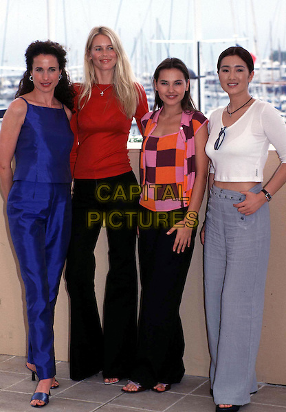 ANDIE MACDOWELL, CLAUDIA SCHIFFER, VIRGINIE LEDOYEN & GONG LI.Cannes Film Festival.Ref: 9602.blue trousers, blue singlet, silk, satin, black trousers, red top, retro top, sleeveless, full length, full-length.www.capitalpictures.com.sales@capitalpictures.com.©Capital Pictures