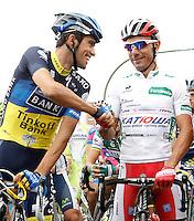 Alberto Contador (l) and Joaquin Purito Rodriguez during the stage of La Vuelta 2012 between Barakaldo and Valdezcaray.August 21,2012. (ALTERPHOTOS/Acero) /NortePhoto.com
