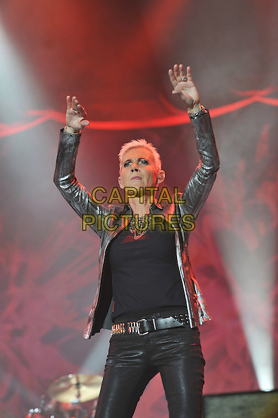 Marie Fredrikson.Roxette performing live in concert at Wembley Arena, London, England. .15th November 2011.on stage gig performance music half length black top silver blazer arms in air  .CAP/MAR.© Martin Harris/Capital Pictures.