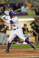 LSU Tigers first baseman Mason Katz #8 at the plate against the Mississippi State Bulldogs during the NCAA baseball game on March 16, 2012 at Alex Box Stadium in Baton Rouge, Louisiana. LSU defeated Mississippi State 3-2 in 10 innings. (Andrew Woolley / Four Seam Images)..