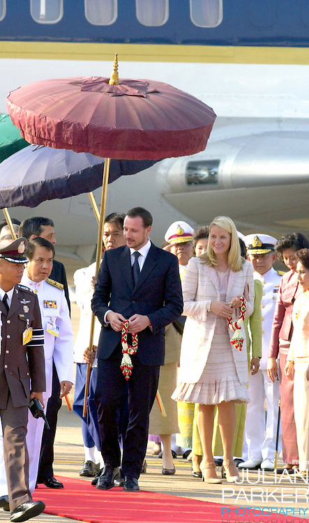 Crown Prince Haakon & Crown Princess Mette-Marit of Norway visit Thailand..Arrival at Don Muang International Airport..