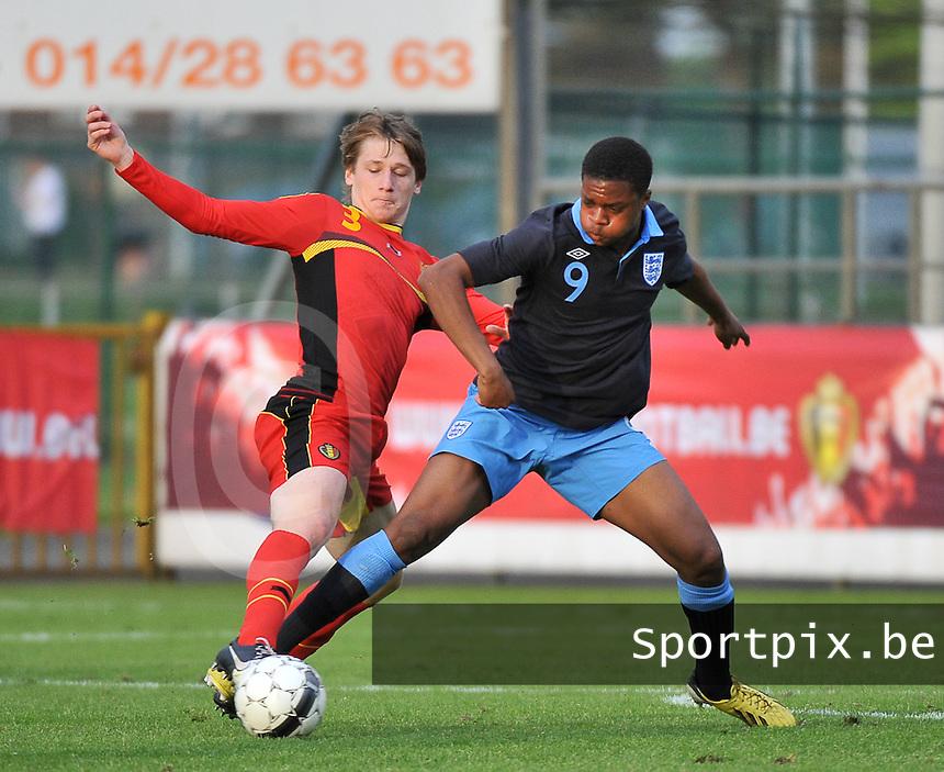 Belgium U19 - England U19 : Gilles Ruyssen (3) and Chuba Akpom (9).foto DAVID CATRY / Nikonpro.be