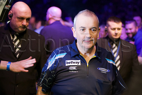 2.04.2015.  Manchester, England. Betway Premier League Darts. Judgement Night. Sixteen time World Champion Phil Taylor during his walk on.
