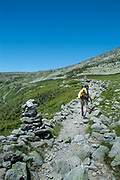 Hiking along the Lion Head Trail in Sargent's Purchase in the New Hampshire White Mountains; this area is part of the Presidential Range.