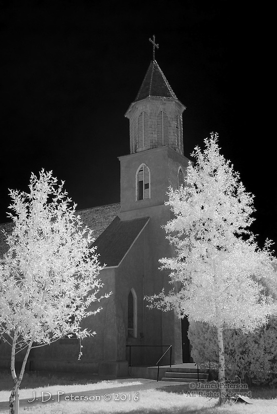 Most Precious Blood Catholic Church, San Luis, Colorado (Infrared) ©2016 James D Peterson.  Built in 1886, this solemn structure is embodies the essence of southern Colorado.  This area was originally colonized by Spanish settlers migrating up through New Mexico, and it has never lost that Spanish charm.